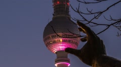 Timelapse Berlin, Fernsehturm, Kugel, ball, Bunt, Color Stock Footage