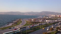 IZMIR - MAY, 2015: Traffic and seaside of Izmir city center Stock Footage