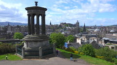 An establishing shot of the Edinburgh, Scotland skyline. Stock Footage