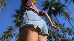 Stock Video Footage of Sexy Woman Body in Jean Shorts. Shaking Ass While Dancing