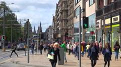 An establishing shot of people walking on the streets of the Edinburgh, Stock Footage