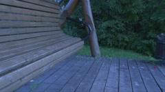 Swing empty wooden swing Stock Footage