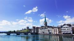 4K Timelapse Zurich Switzerland Swiss banks headquarters - Limmat Quai Stock Footage