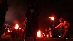 Beltane Festival.Pagan rituals and dancers around the fire.Halloween party. Stock Footage
