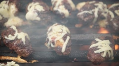 Barbecue grilling meatballs Stock Footage