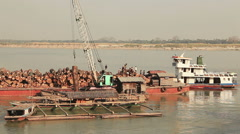 Teakwood Barge Irrawaddy River Time Lapse Stock Footage