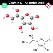 Ascorbic acid molecule, vitamin C - stock illustration