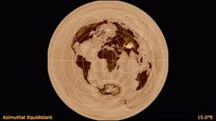 Animated world map in the Azimuthal Equidistant projection. Luminance blending. Stock Footage