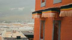Panoramic view of Labrang Monastery, Xiahe, China Stock Footage