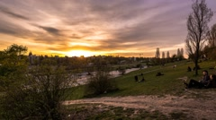 Berlin Timelapse, Mauerpark Sunset Stock Footage