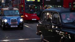 Taxis and bus from London Stock Footage