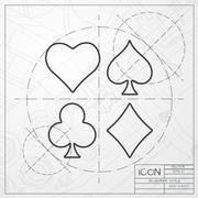 Vector game cards icon. Epsclassic blueprint of0 - stock illustration