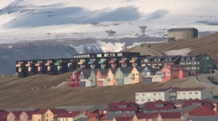Salvabad , Longyearbyen, from Cruise ship side. Stock Footage