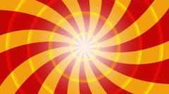 4k retro pinwheel, hypnotic swirl, vintage sunburst - red and orange - stock footage
