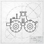 Vector color flat heavy machine icon - stock illustration