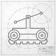 Stock Illustration of Vetor color flat trolley icon. Epsclassic blueprint of0