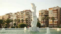 IZMIR KARSIYAKA, JULY 2015; Dolphins statue at Karsiyaka seaside (close up) Stock Footage