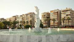 IZMIR KARSIYAKA, JULY 2015; Dolphins statue at Karsiyaka seaside Stock Footage