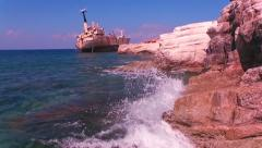 Edro III wreck ship and shore. Paphos District, Cyprus. Stock Footage