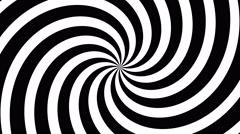 4k retro pinwheel, hypnotic swirl, vintage sunburst - black and white - stock footage
