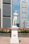 Sir Stamford Raffles statue on Clark Quay in Singapore - stock photo