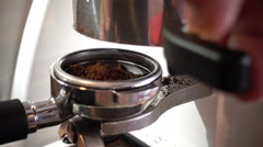 Close-up fresh ground coffee in the bucket , 4K Stock Footage