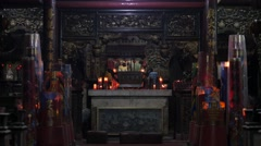 Candles burning in chinese temple,Surabaya,Java,Indonesia Stock Footage