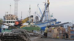 Crane lifts cargo to ship,Surabaya,Java,Indonesia Stock Footage