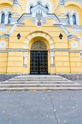 Entrance to the Eastern Orthodox Church in Kiev, Ukraine - stock photo