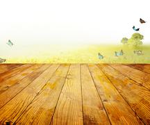 Wood planks floor on a green meadow - stock photo
