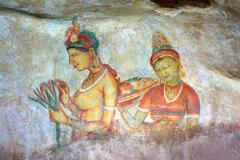 Sigiriya maiden - frescoes at fortress in Sri Lanka Stock Photos