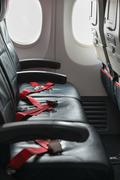 Passenger Seats on a Commercial Airliner Stock Photos
