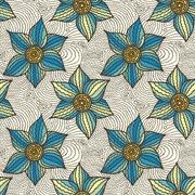 Stock Illustration of Seamless pattern of hand-drawn flowers