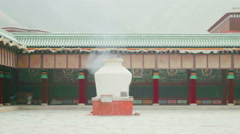 Courtyard of the Grand Sutra Hall of Labrang Monastery, Xiahe, China - stock footage