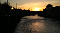 Dublin Quays at Sunsey Stock Footage