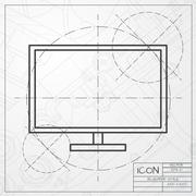TV or monitor icon Stock Illustration