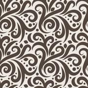 Seamless floral pattern with curls and dots Stock Illustration