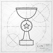 Vector flat trophy - stock illustration