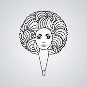 Portrait of a woman with luxuriant hair in the style of an African.  The - stock illustration