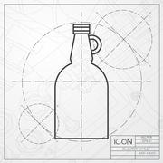 Vector flat apple cider vinegar bottle template Stock Illustration