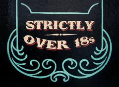 Strickly Over 18s Sign Stock Photos