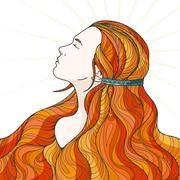 Stock Illustration of Profile of a beautiful girl with long haughty intricately curled hair