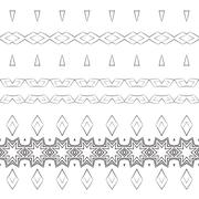 Stock Illustration of Set of filigree patterned brushes
