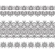 Set of filigree patterned brushes - stock illustration
