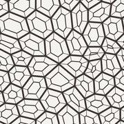 Seamless pattern in a grid of polygons with lines - stock illustration