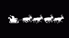Eight Reindeer Pulling Santa's Sleigh Stock Footage