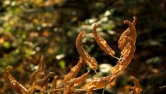 Dried Autumn Leaves Curled on Stem Parallax Slide HD Stock Footage