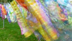 Colorful Scarves on Cloths Line Blowing in Wind, Time Lapse - stock footage
