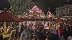 Striezelmarkt Dresden Christmas Market Timelapse Germany 17 Stock Footage