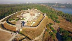 Khortytsya wooden castle - October 4: Aerial view:  overall plan of Khortytsya w - stock footage